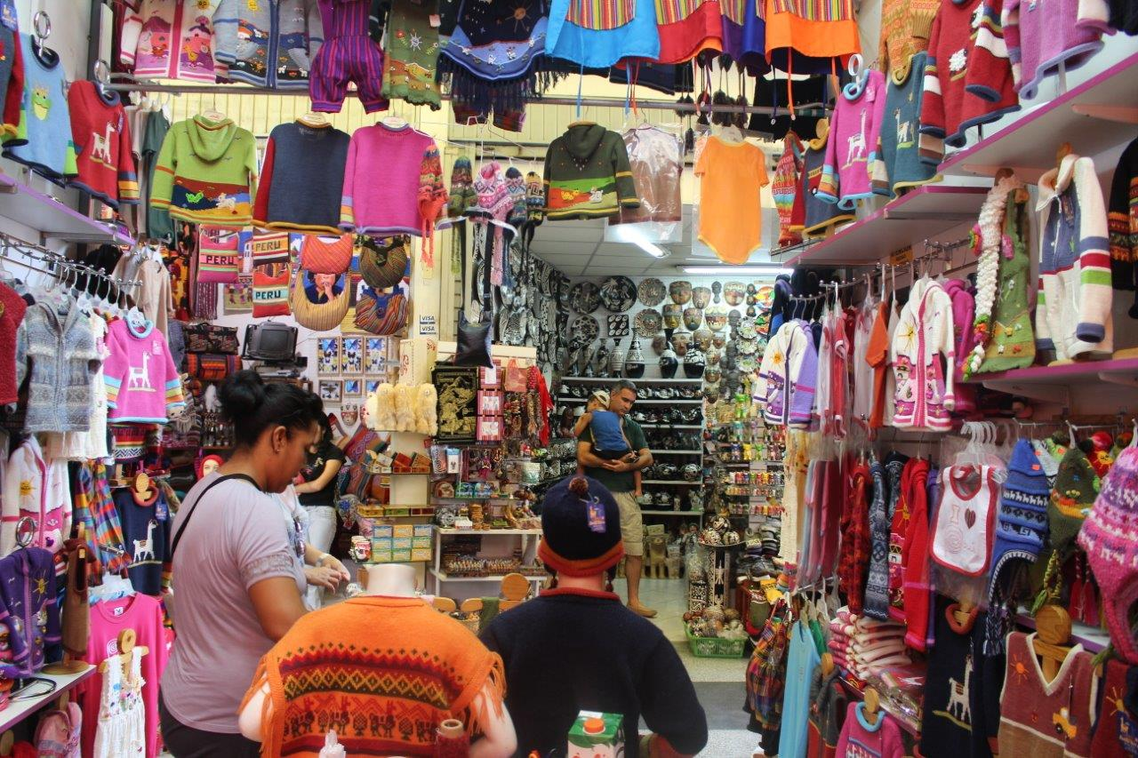 Impressive the amount of clothes and other objects at Mercado Inca