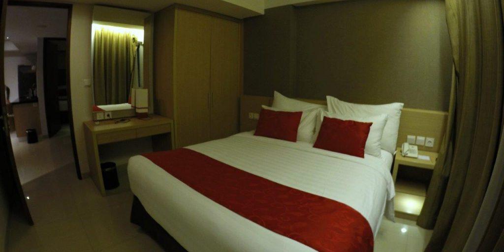 One of the bedrooms at the Ramada Encore Bali Seminyak