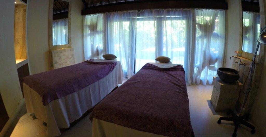 Massage tables at Thalasso Bali Spa at the Grand Mirage Resort