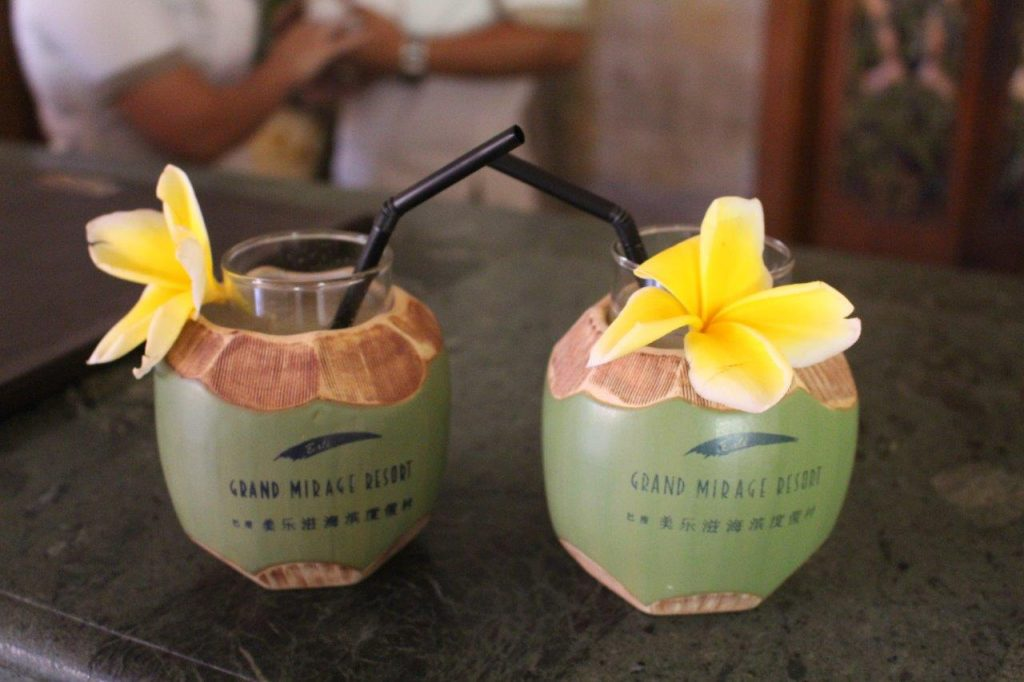 Welcome drinks of the Grand Mirage Resort & Thalasso Bali