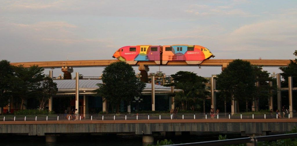 The train taking visitors from HarbourFront Station to Sentosa Island, where is located Universal Studios Singapore