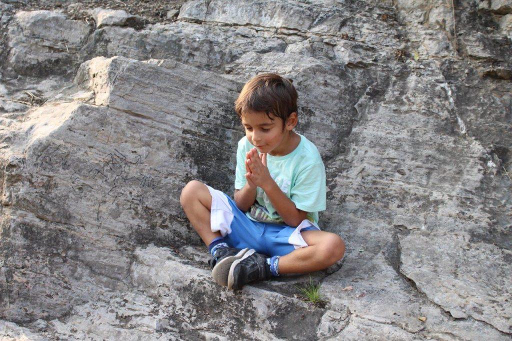 Noah meditating at Longmen Grottoes