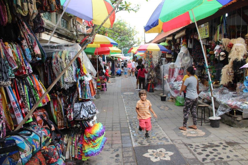 Noah exploring the street market of Ubud, in Bali