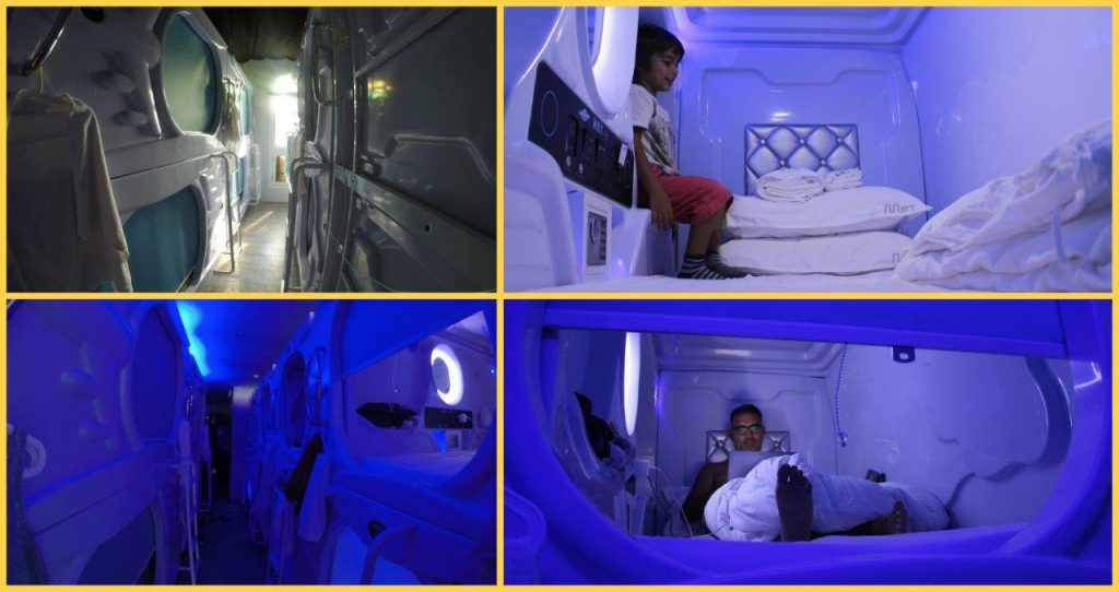 Our bed capsules at MET a Space Pod, during our stay in Singapore