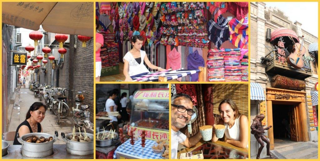 Enjoying the street market and the food during our visit to the Houses of Pingyao
