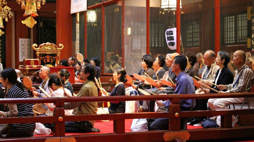 The end of the parade of Oeshiki Festival in Tokyo was at Ikegami Honmoji Temple