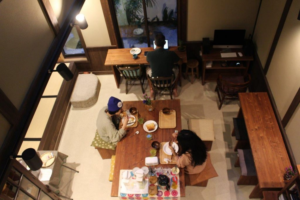 The high ceilings at Luck You townhouse, a Ryokan guest house, gives a perception of amplitude