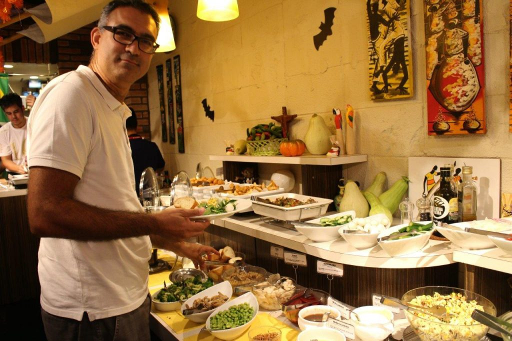 The varied typical Brazilian buffet at Que Bom Churrascaria and Restaurant in Asakusa, Tokyo
