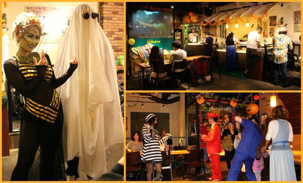 People dressed for Halloween at Que Bom Brazilian Churrascaria and Restaurant in Asakusa, Tokyo