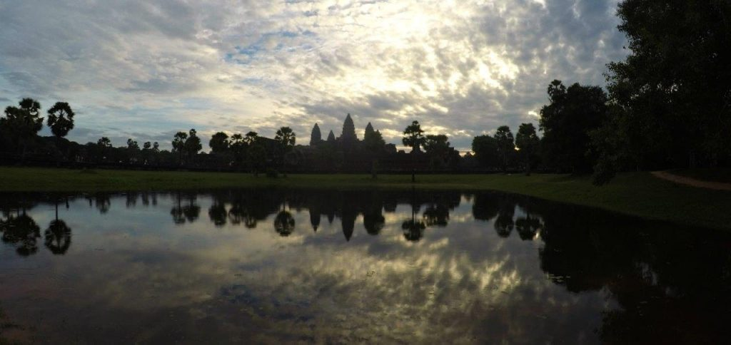 One of the most emblematic views of Angkor Wat, in Siem Reap, at sunrise