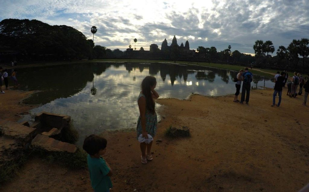 Even at very early hours there are lots of tourists ready to behold Angkor Wat, in Siem Reap, at sunrise