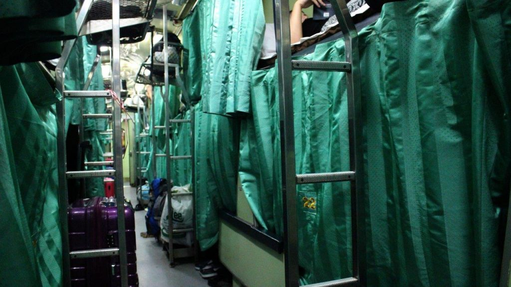 Our train, converted into beds, taking us from Bangkok to the port from where we were departing to Koh Tao