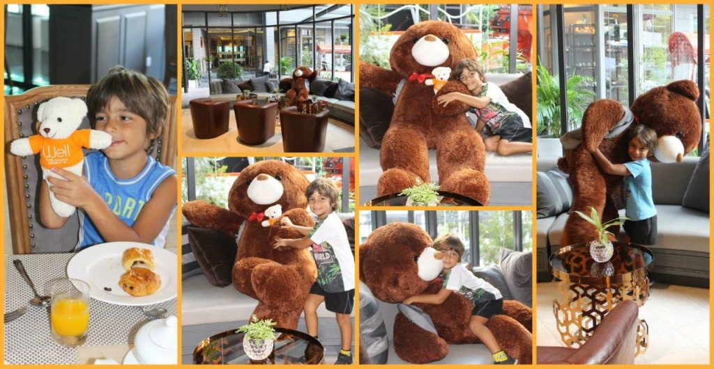 Big Bear at the reception of Well Hotel Bangkok greets guests with a warm hug