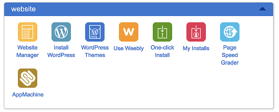 Bluehost button to install WordPress