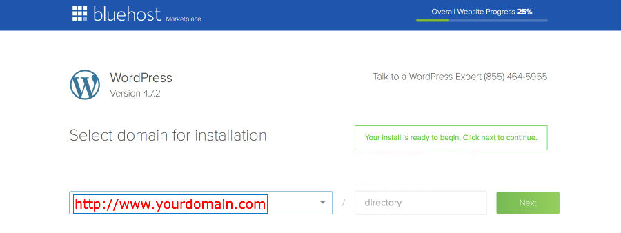 Bluehost wordpress - select domain