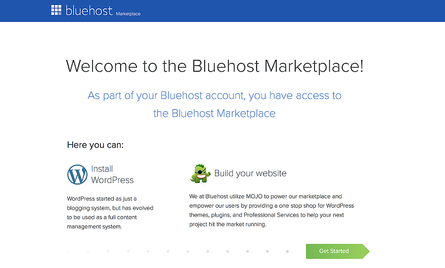 Bluehost - wordpress install