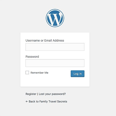 Bluehost wordpress login screen